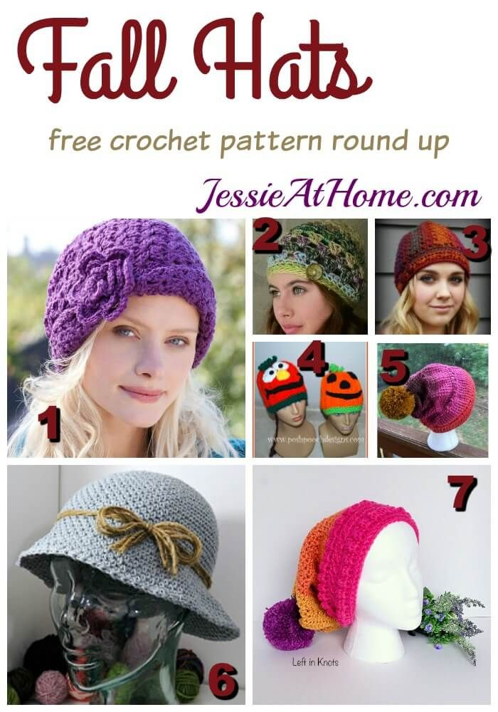 Fall Hats free crochet pattern round up from Jessie At Home | NOW ...