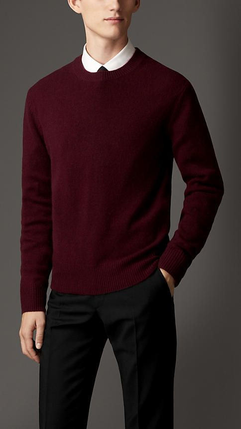 Burberry London Mahogany red Lightweight Cashmere Sweater - A ...
