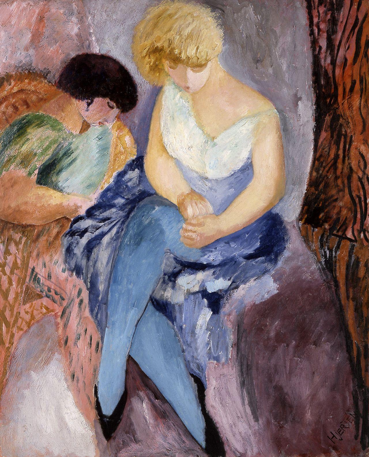 """huariqueje:  """"  Brunette and Blonde - Sigrid Hjertén , 1912  Swedish,1885-1948  Oil on canvas, 100 cm (39.37 in.) x 81 cm (31.89 in.)  """""""