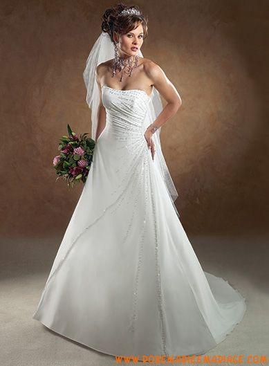 Robe A-ligne en satin et organdi ornée de plis et de perles robe de mariée tatie