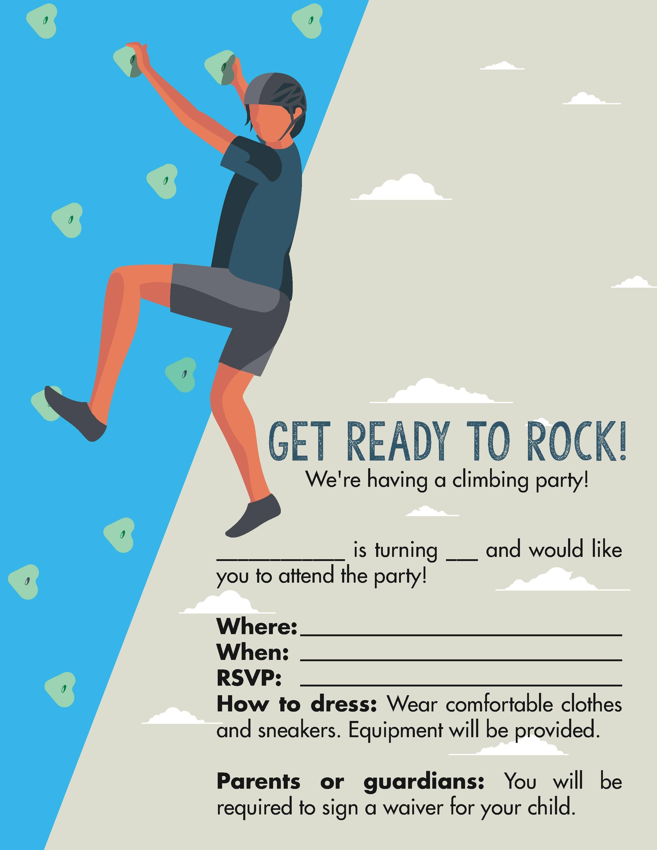 Invitation 1 Free Rocks Rock Climbing Birthday