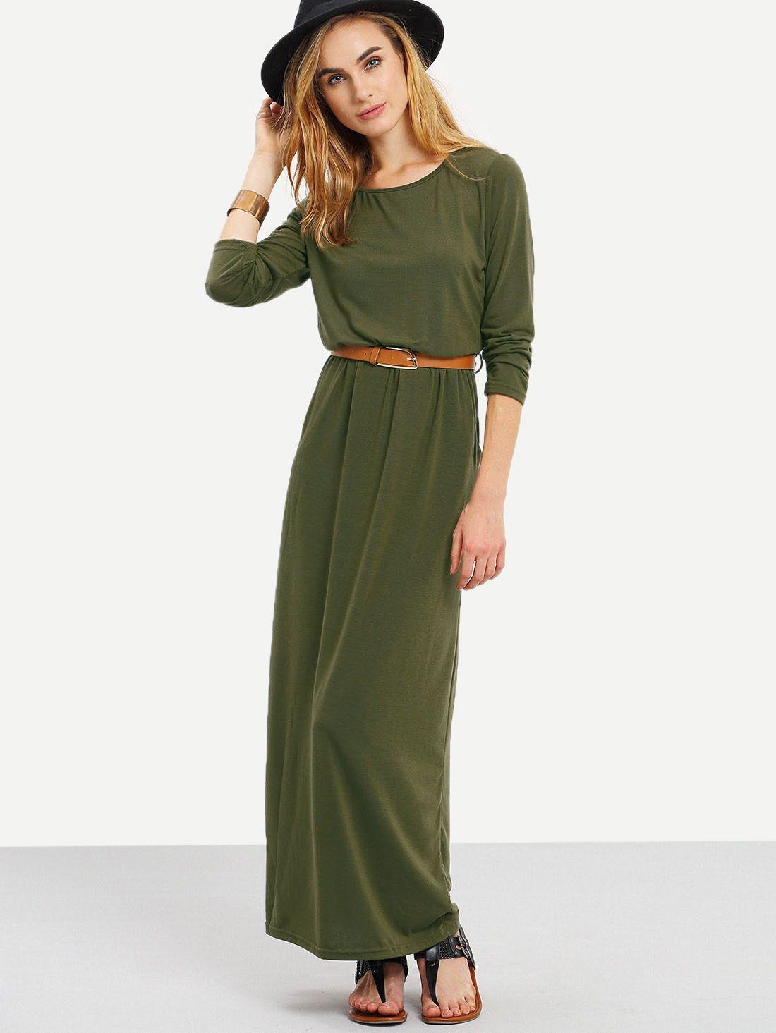 Long Sleeve Pockets Maxi Dress   Pinterest   Maxikleid langarm, Grün ...