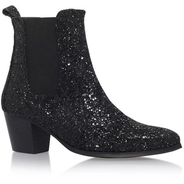 KG Kurt Geiger Razzle Glitter Ankle Boots (£160) ❤ liked on Polyvore featuring shoes, boots, ankle booties, short black boots, black glitter boots, black bootie, glitter booties and pointy toe booties