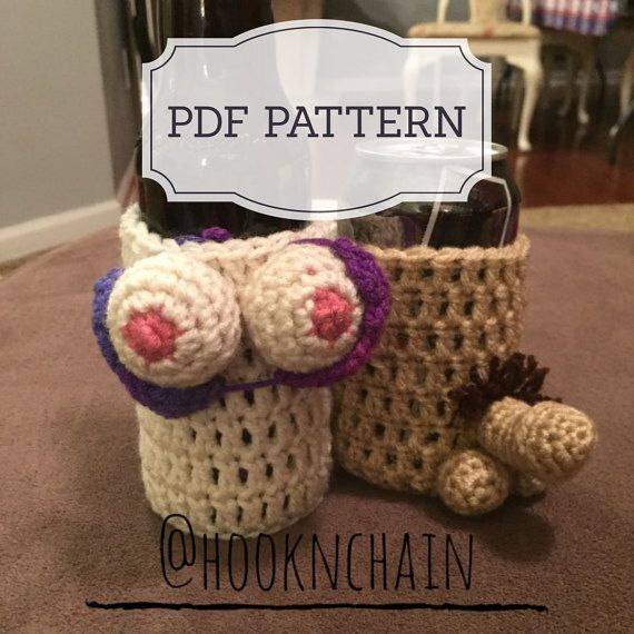 Pdf Pattern For Boob And Penis Bottle Can Holder Sleeve Crochet