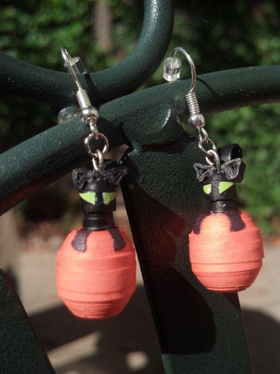 Halloween Earrings Black Cat in Pumpkin by SweetheartsandCrafts