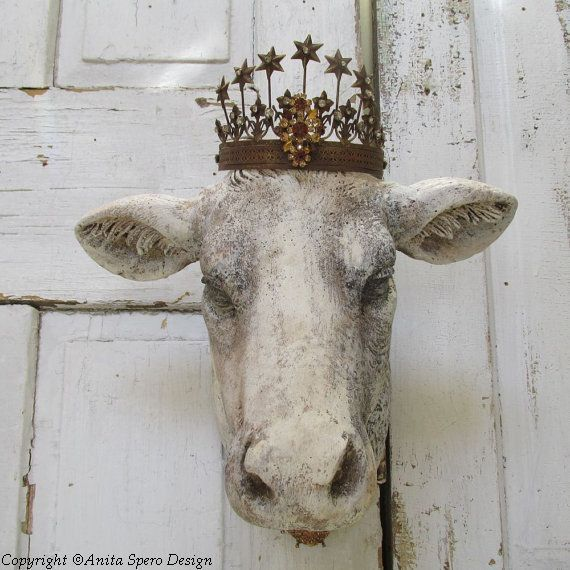 French Cow Head Wall Mount Faux Hand Painted Rustic Farmhouse Mounted Heifer Taxidermy Large Hanging Home Decor Anita Spero Design