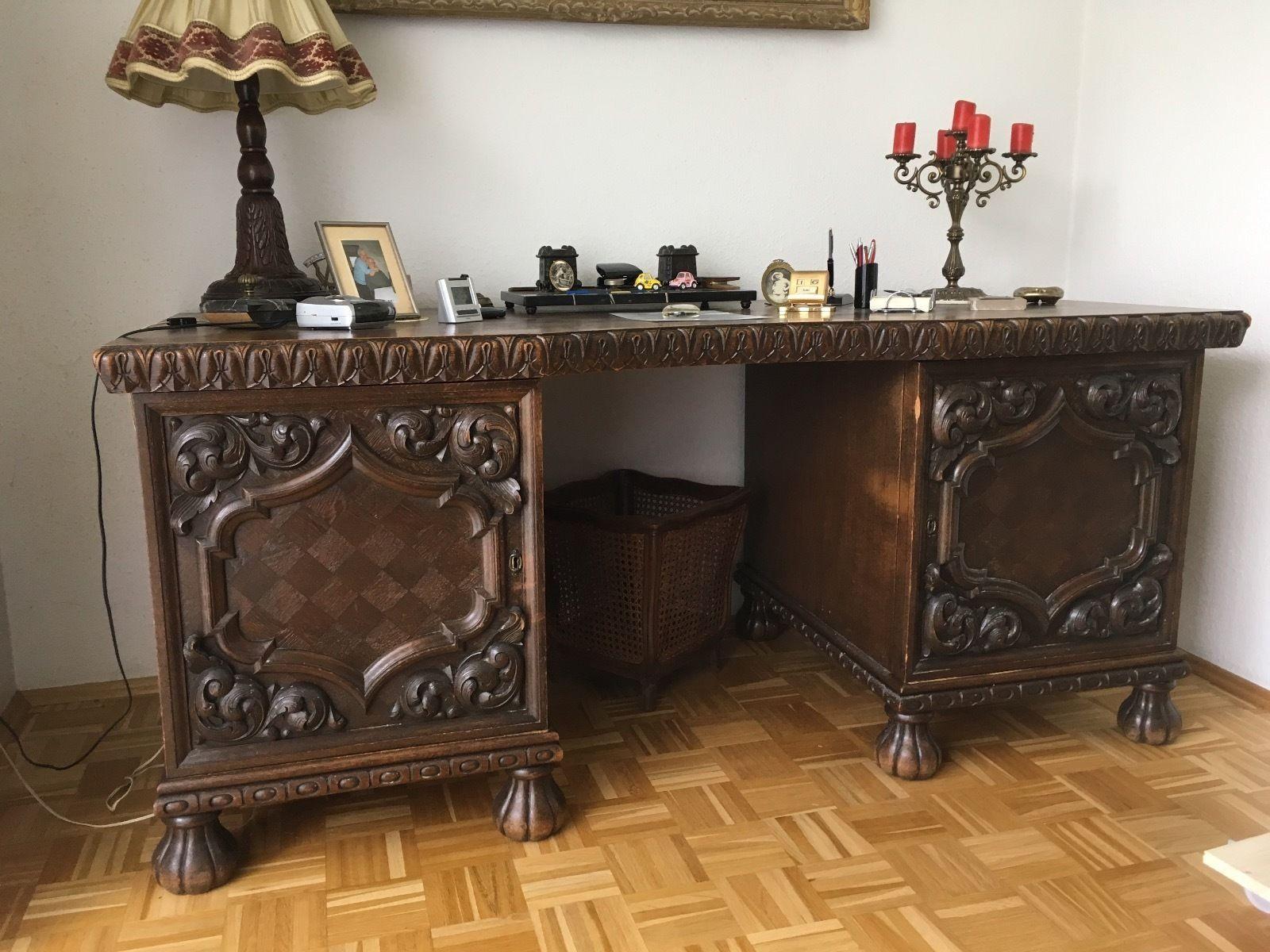 antik sehr seltener schreibtisch mit stuhl eiche dunkel um 1900 ebay m bel pinterest. Black Bedroom Furniture Sets. Home Design Ideas