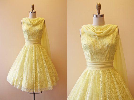 50s Dress - Vintage 1950s Dress - Yellow Lace Chiffon Train Prom ...
