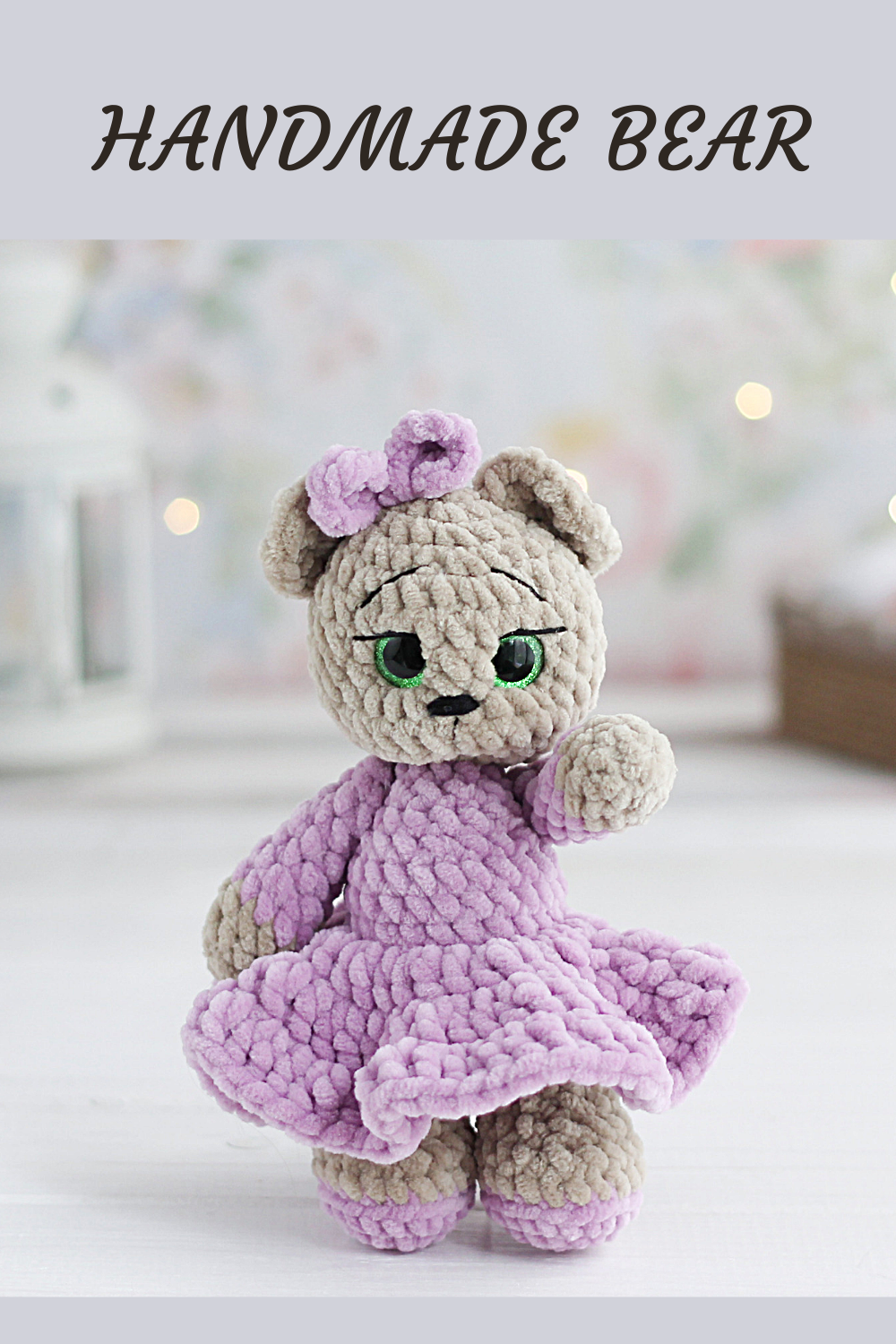 Stuffed teddy bear in dress for 1 year old girl gift