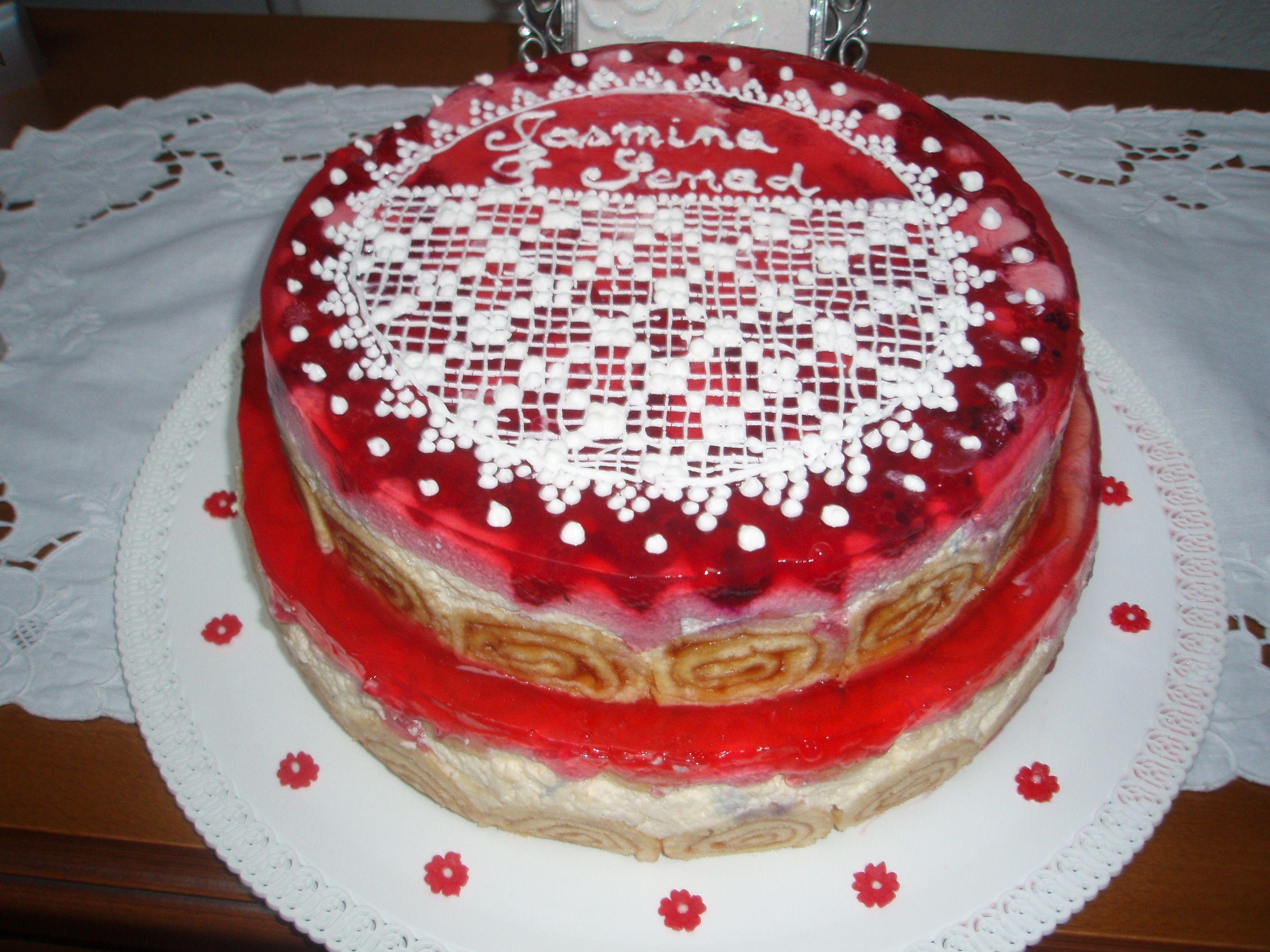 Torta sa malinama-ručno rađena čipka sa  kraljevskom glazurom