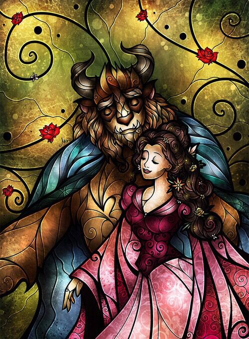 Stained Glass Art Beauty The Beast