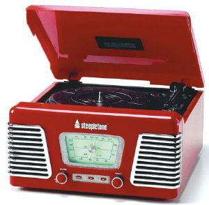 Steepletone Roxy 1 Retro 3 Speed Record Player/Turntable in Red with USB & Radio on eBay!