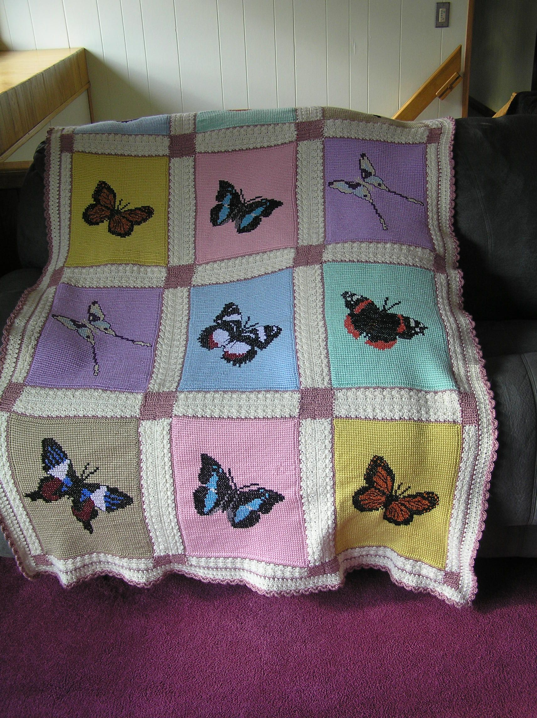 butterfly pattern crochet afghan | Afghan and blanket... | Pinterest ...