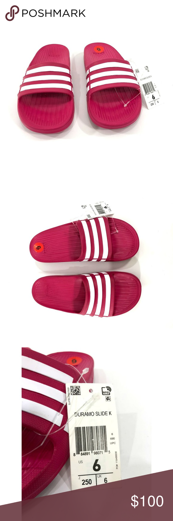 30125b5ef489b1 ... c85c2 155d9 Adidas Duramo Slide K Womens Flip Flops G06797 Adidas  adidas  Duramo Slide K Orange Pink White Kids Youth Sports Sandal Slippers CP9384  ...