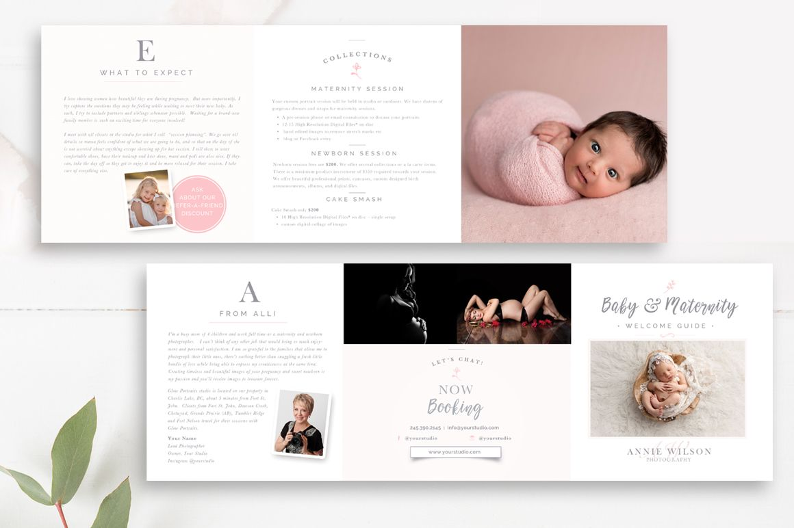 Newborn Pricing Template 5x5 Accordion Trifold By Stephanie Design Photoshop Template Design Trifold Templates Photography Marketing Templates