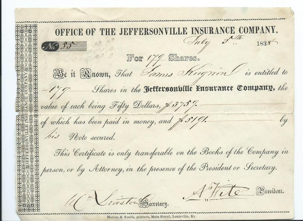 1838 Jeffersonville Insurance Company Indiana Receipt For