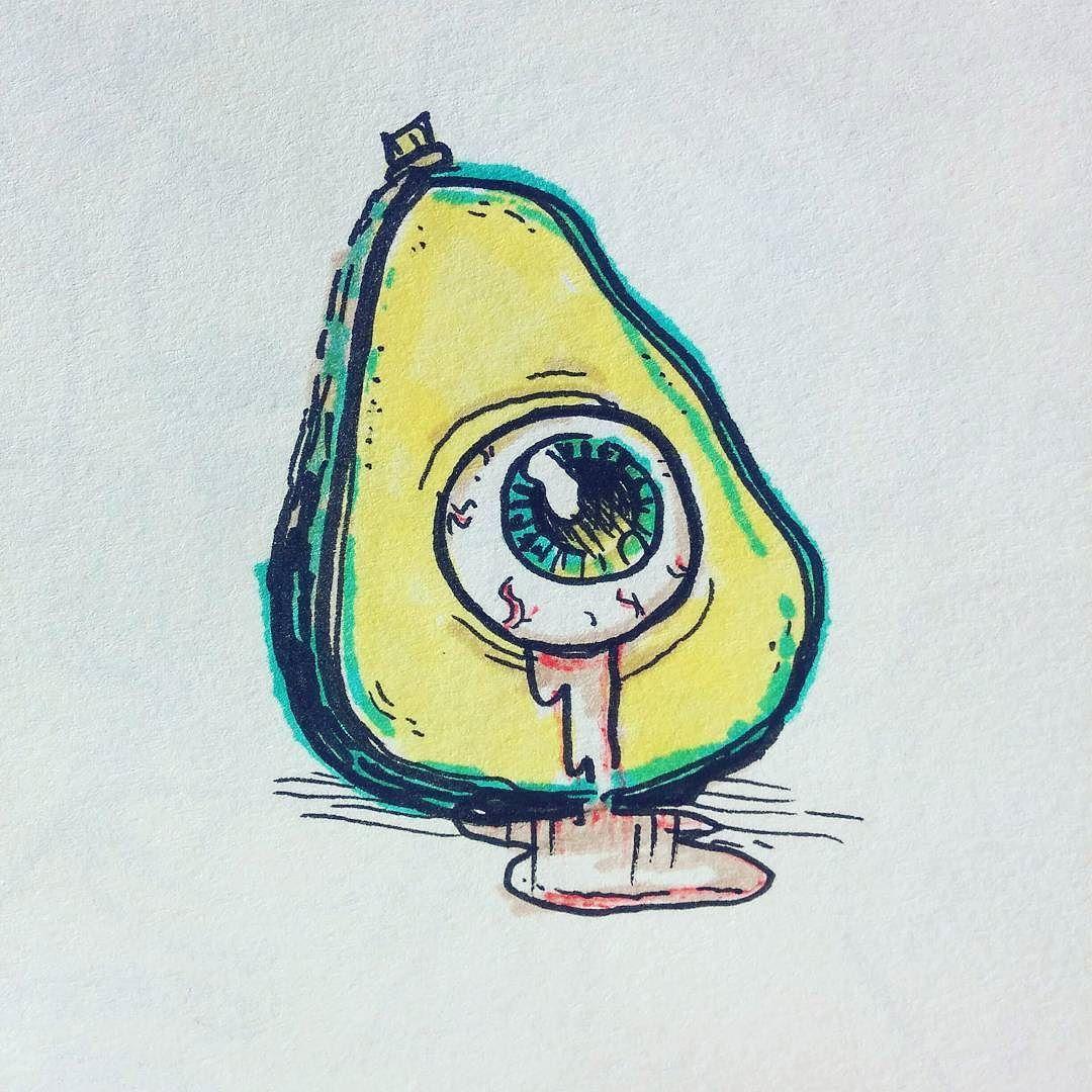 Дня, авокадо с лицом рисунок