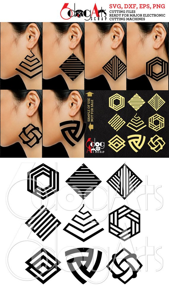 Photo of 9 Wood / Acrylic / Leather Geometric Earring / Pendant Templates Download Vector Digital SVG DXF Jewelry Cut Files Laser Die Cutting JB-1119