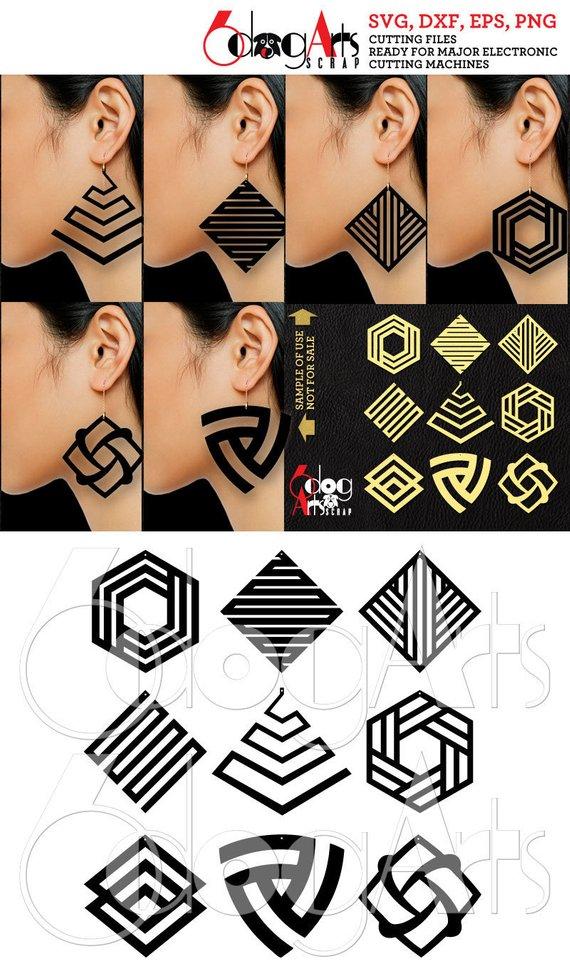 9 Wood / Acrylic / Metal Geometric Earring / Pendant Templates Vector Digital SVG DXF Jewelry Cut Files Download Laser Die Cutting JB-1119