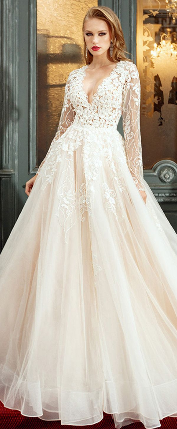 Lavish tulle u satin vneck aline wedding dresses with beaded
