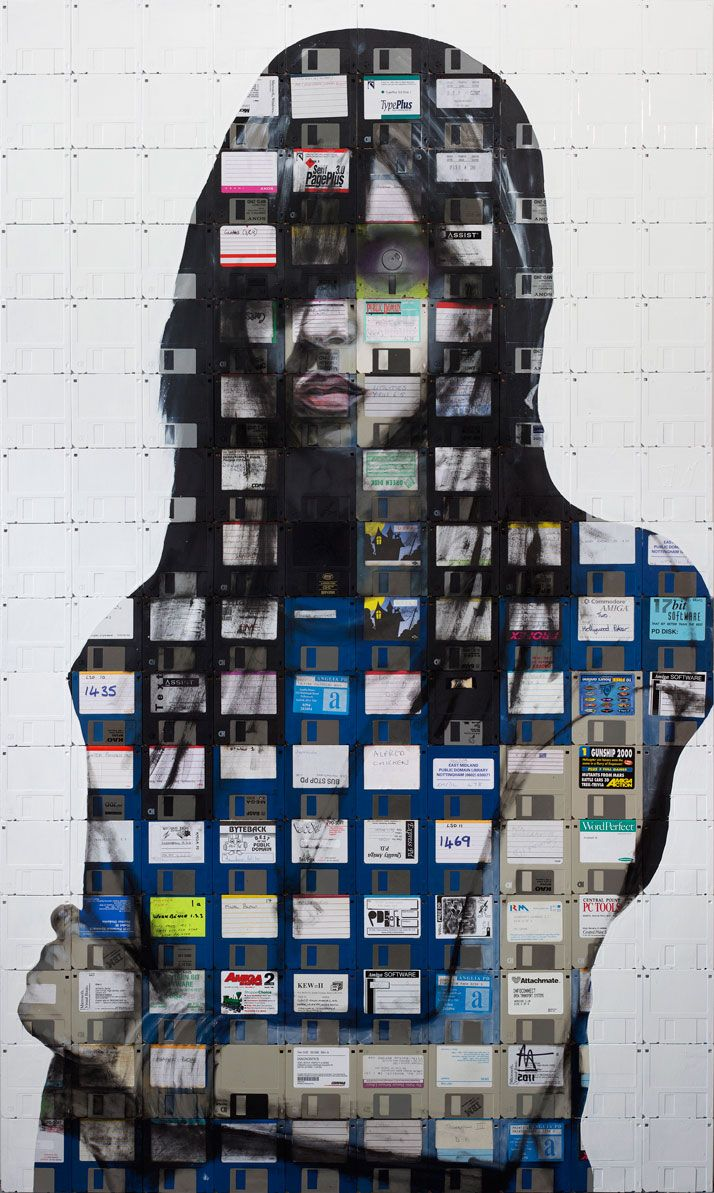 Nick Gentry's floppy disc paintings