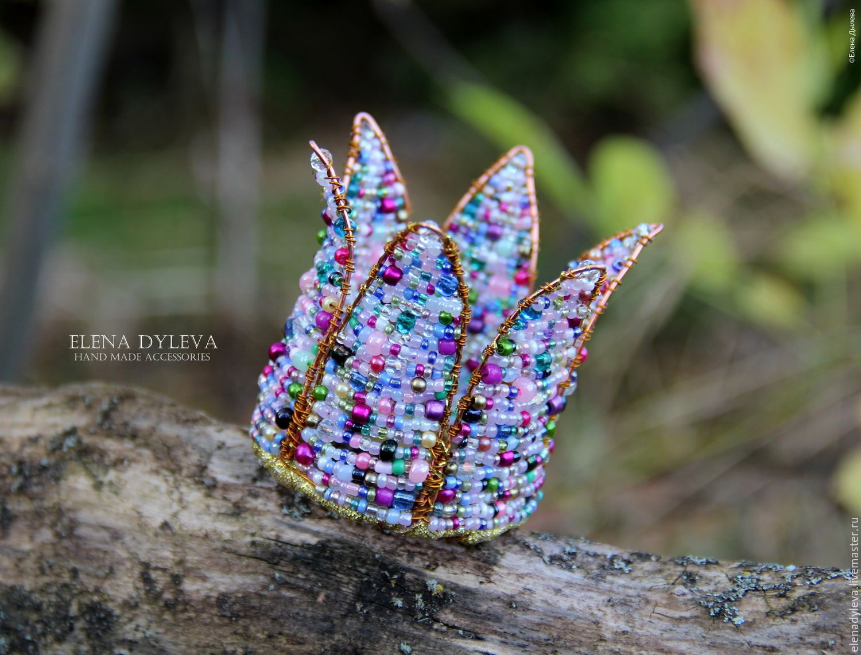 """Bead weaving crown for girl / Корона из бисера """"Карамелька"""" - комбинированный, однотонный, карамелька, Праздник, праздничное украшение, Новый Год"""