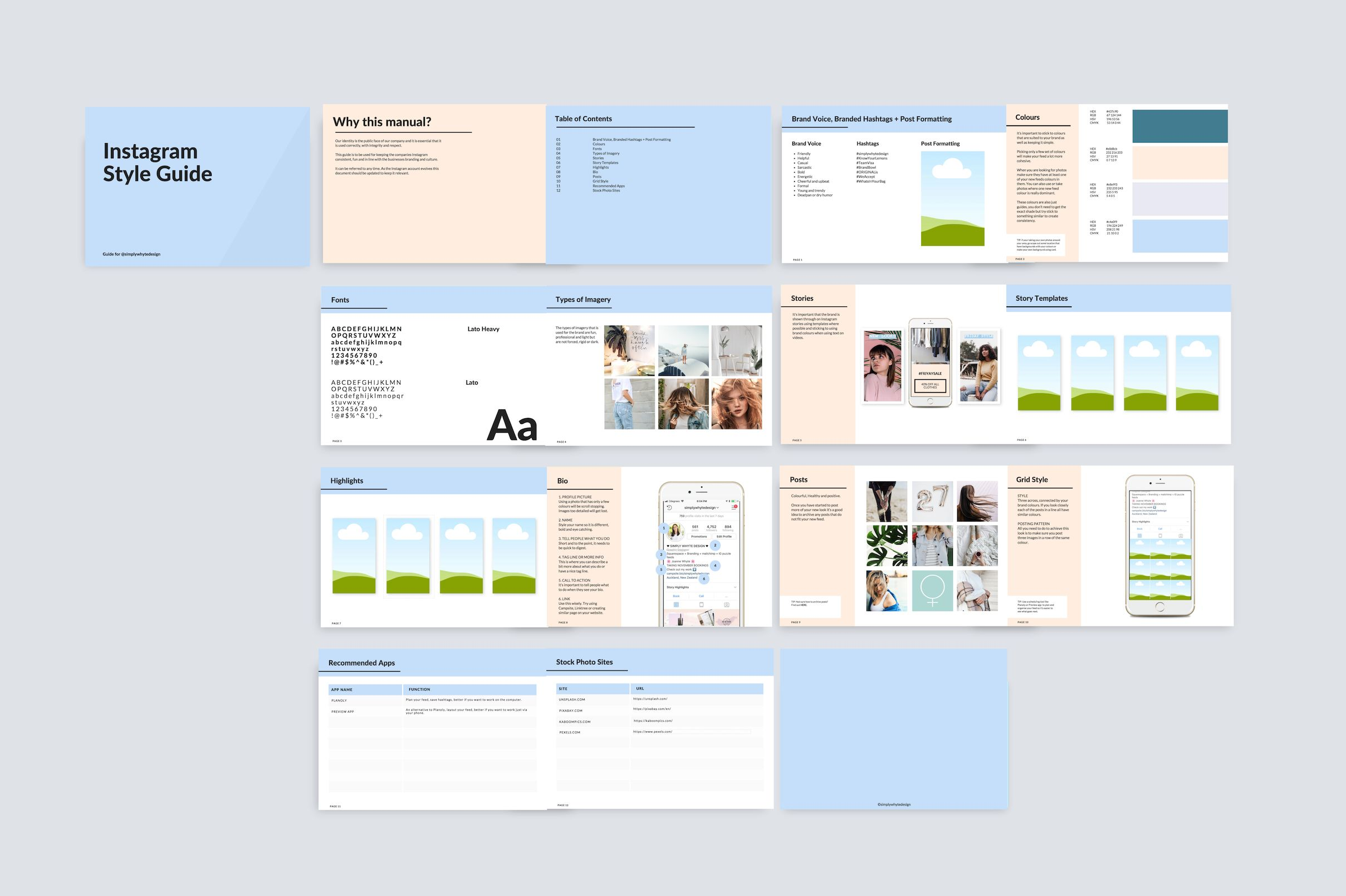 Instagram Style Guide Simply Whyte Design Instagram Tips Instagram Theme Instagram Feed Themes Style Guide Template Style Guides Instagram Template Design