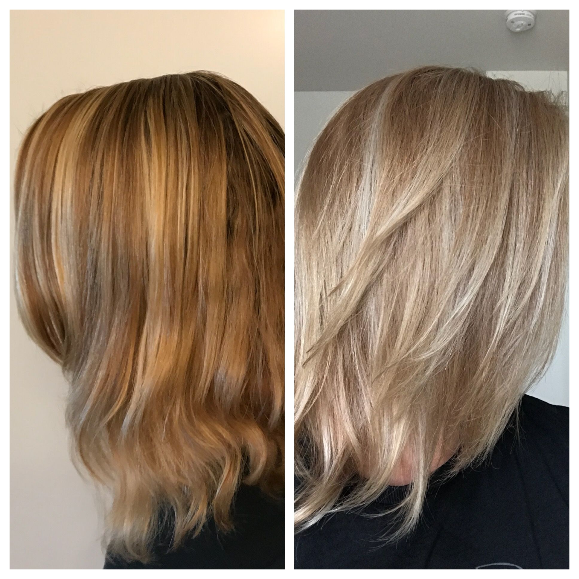 Wella Color Charm T18 Toner With 20 Developer Before And After Brassy Hair Wella Color Charm Diy Highlights Hair