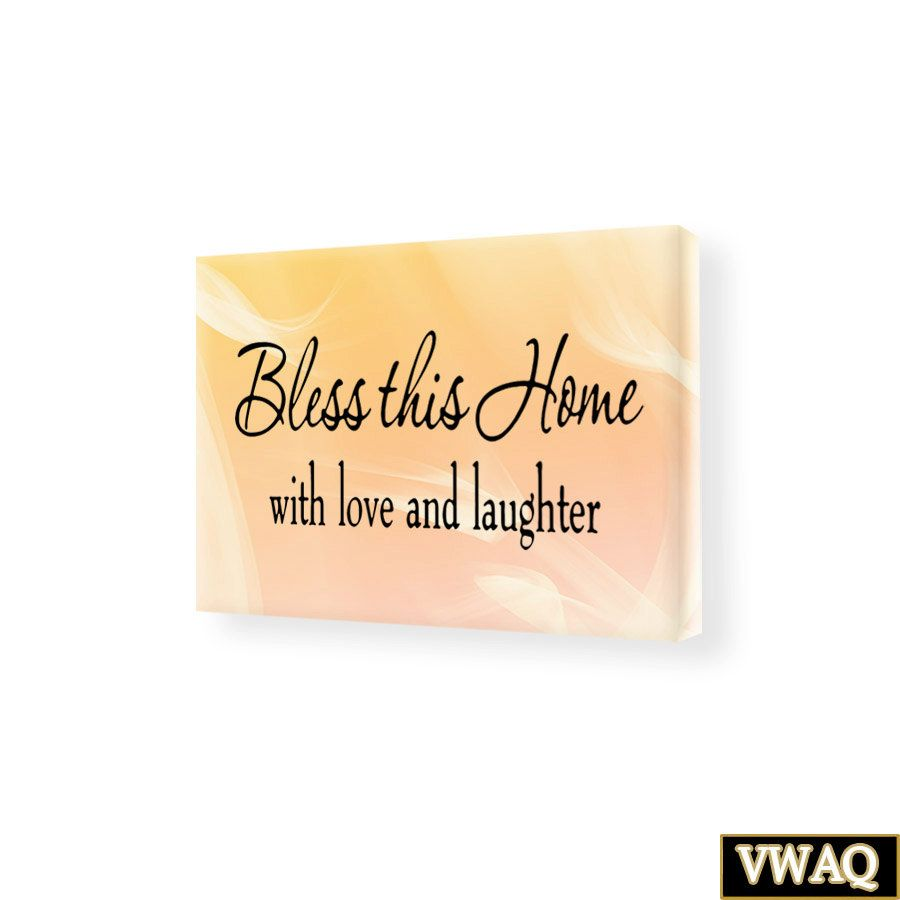 Bless This Home With Love And Laughter Stretched Canvas Wall Art ...