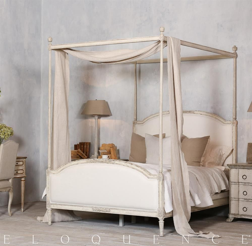 Eloquence Dauphine Canopy Bed In Weathered White Queen Queen