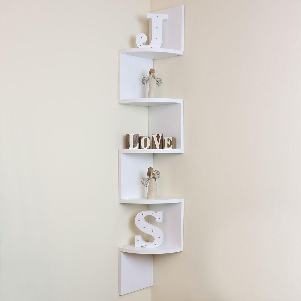 5 Tier White Wall Mounted Zigzag Corner Floating Shelf Shelves Display Wood Unit Floating Shelves Display Shelves Shelves