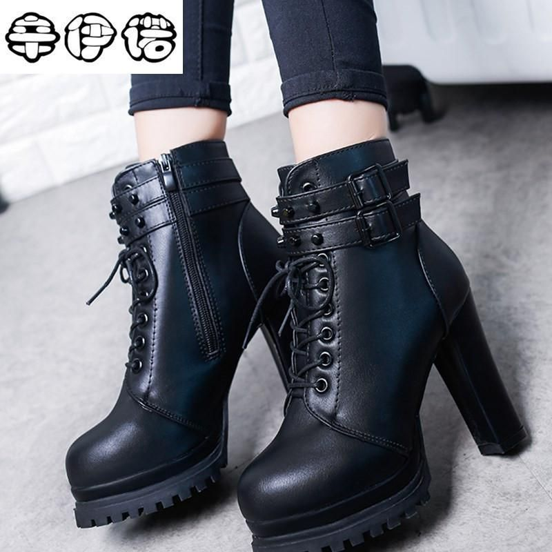 050544db7261 2017 New Winter Women Black High Heel Martin Boots Buckle Gothic Punk Ankle  Motorcycle Combat Boots