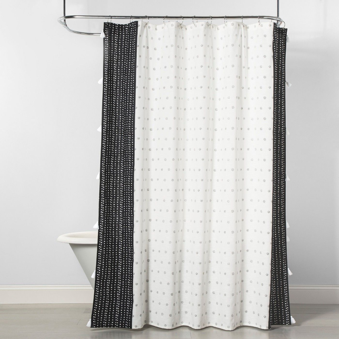 dots floral shower curtain black cream
