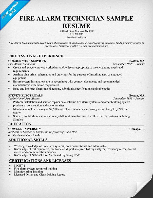 Fire Alarm #Technician Resume Sample (http\/\/resumecompanion - executive chef resume samples