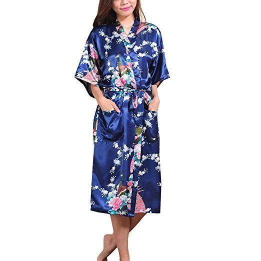 ba5be61e1be0cc iBaste Damen Kimono Morgenmantel Lang Satin Bademantel Nachtwäsche Robe mit  Peacock und Blume S-XXXL Hochzeit Brautjungfer Pyjama-Party