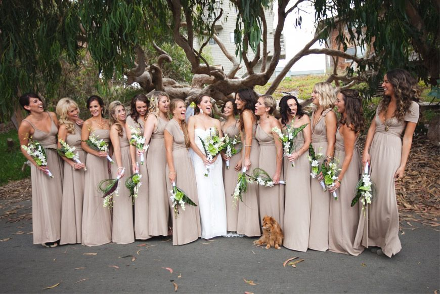 Different Bridesmaids Dresses in Beige