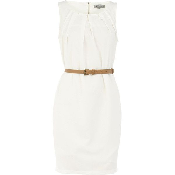 Cream sleeveless belted dress ❤ liked on Polyvore
