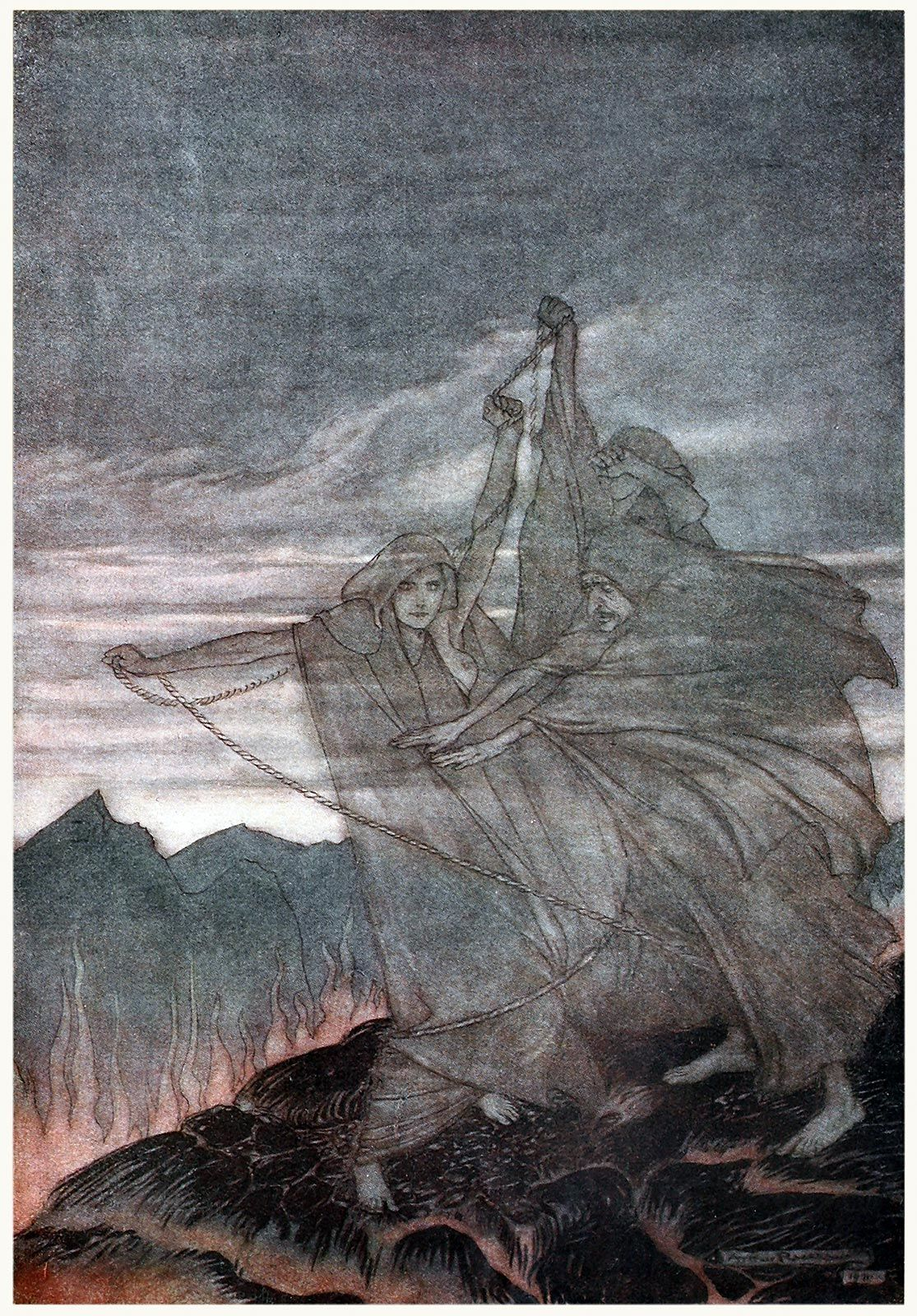 The Norns vanish.    Arthur Rackham, from Siegfried & The twilight of the gods, by Richard Wagner, London, 1911.