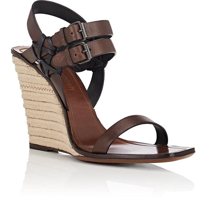 0a108376cbb Saint Laurent Leather Espadrille Wedge Sandals - 8 Brown