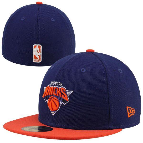 85bac801a4b0d Mens New York Knicks Royal Blue Orange Team Logo 59FIFTY Fitted Hat