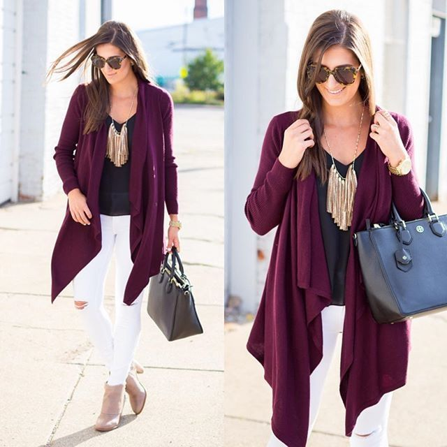 Burgundy waterfall cardigan   black tee   white skinnies   nude ...