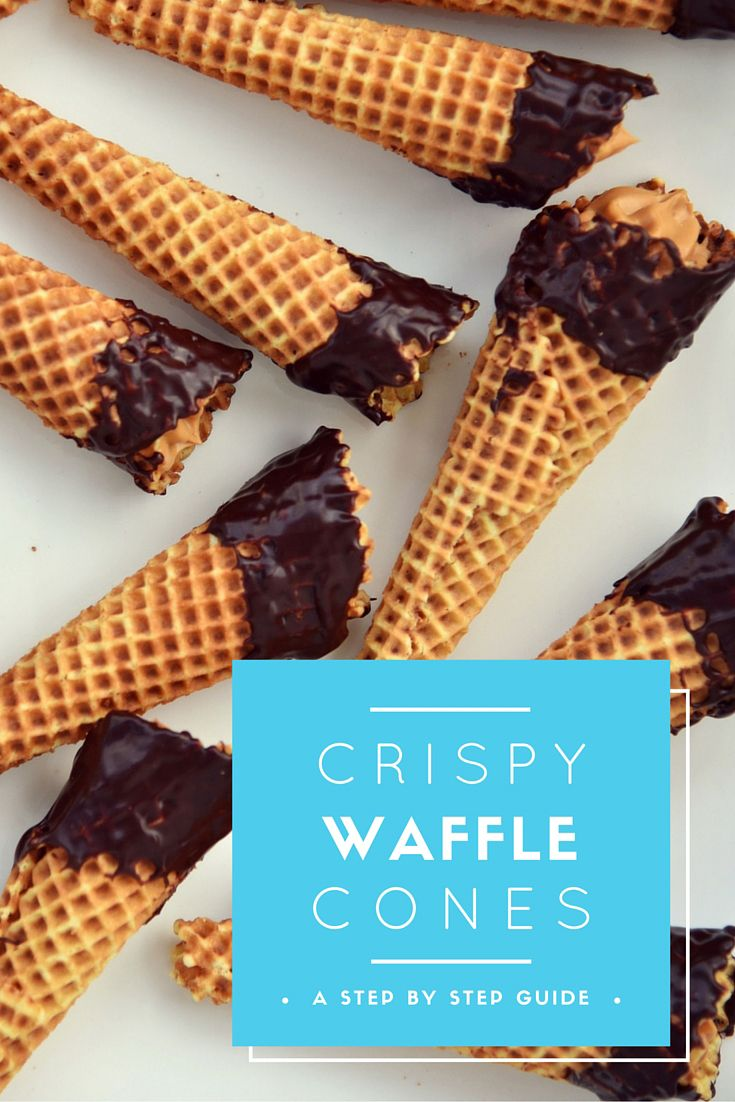 Chocolate dipped crispy caramel waffle cones recipe