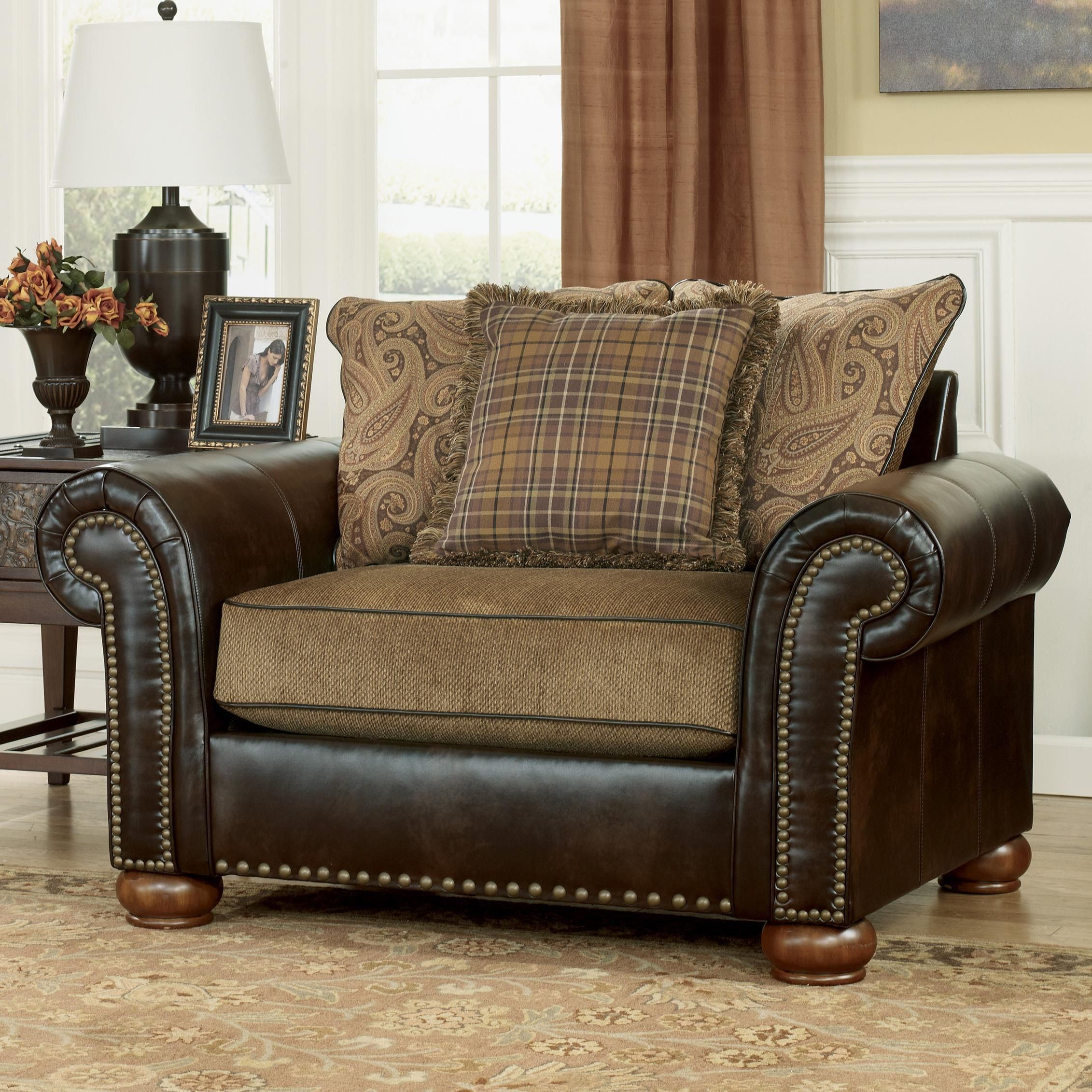 briar place antique fabric faux leather chair and a half by