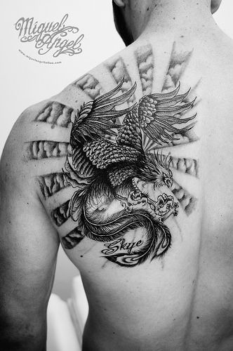 Custom Phoenix, clouds and name tattoo | tattoos | Name ...