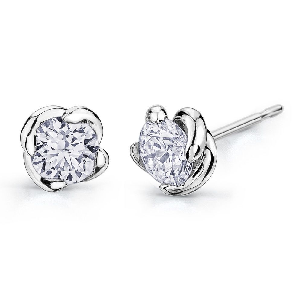 Maple Leaf Diamonds Wind S Embrace 18ct White Gold Diamond Stud Earrings