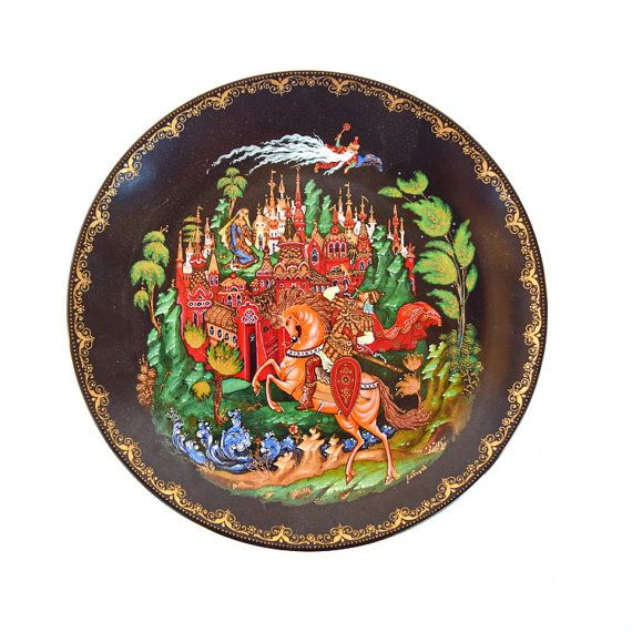 Decorative plate Palekh Russian Fairy Tales by AGardenCottage  sc 1 st  Pinterest & Decorative plate Palekh Russian Fairy Tales Ruslan Lyudmila 1988 ...