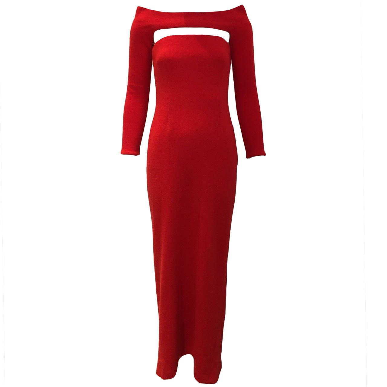 S bill blass red cashmere dress with shrug cashmere dress bill