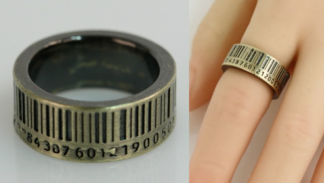 Checked Out- Antique finish bar code band. Approx. width 0.25 in.    Color: Antique Gold  Size: 7  Price: $11.00