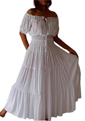 Lotustraders Maxi Peasant Dress Smocked Ethnic A763 Medium White *** Continue to the product at the image link.