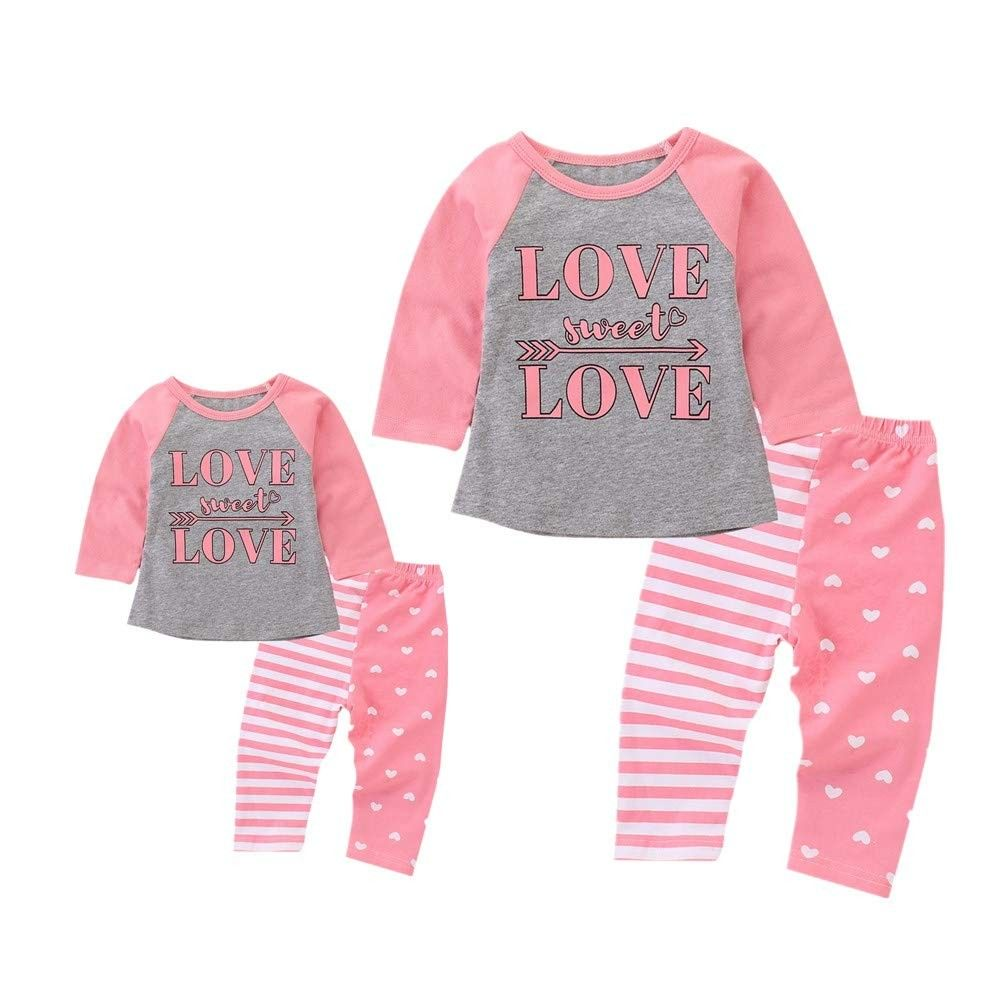 Lurryly Baby Girls Floral Striped Hooded Tops Pullover Pants Clothes Pajamas Outfit 0-2T